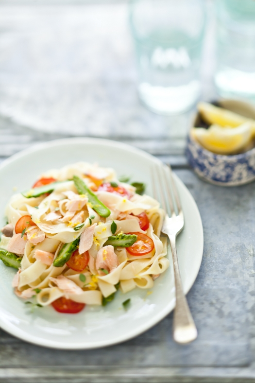 Linguine With Salmon, Asparagus and Cherry Tomatoes
