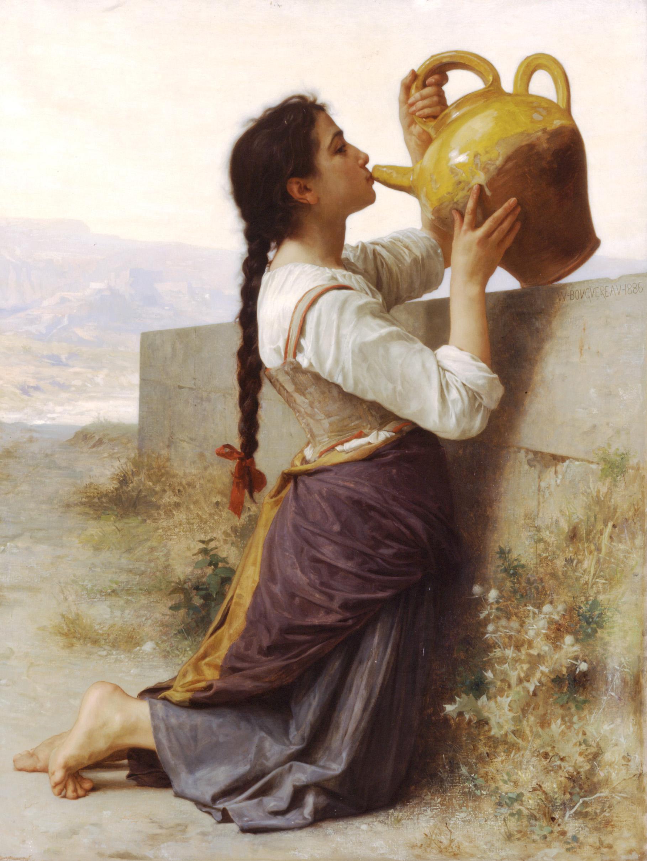 Mujer bebiendo de botijo. William-Adolphe Bouguereau. Óleo sobre lienzo. 1886
