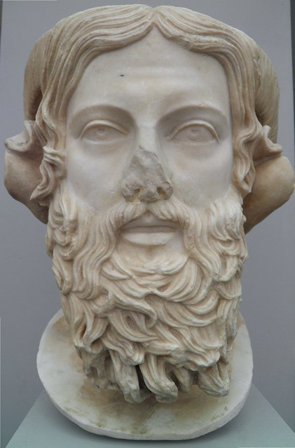 Marble head of Zeus Ammon, roman copy of 5th century BC Greek original, Staatliche Antikensammlungen, Munich