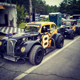 Matt & Wyatt waiting to go out for the heat race #uslegends #nelcar
