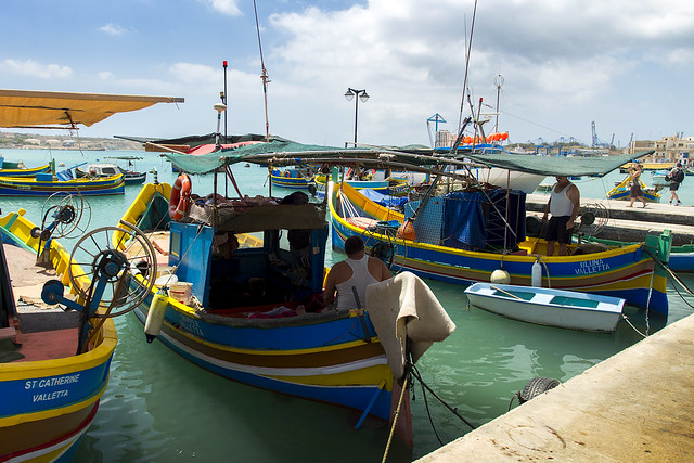Fishing boats luzzu in Marsaxlokk