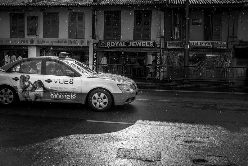 A cab in the rain at Little India, Singapore