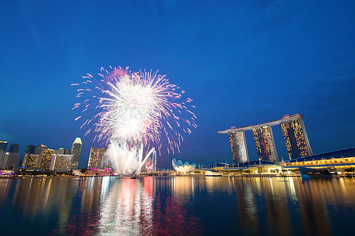 Fireworks from rehearsal National Day Party of Singapore 2013 by Haryadi Be