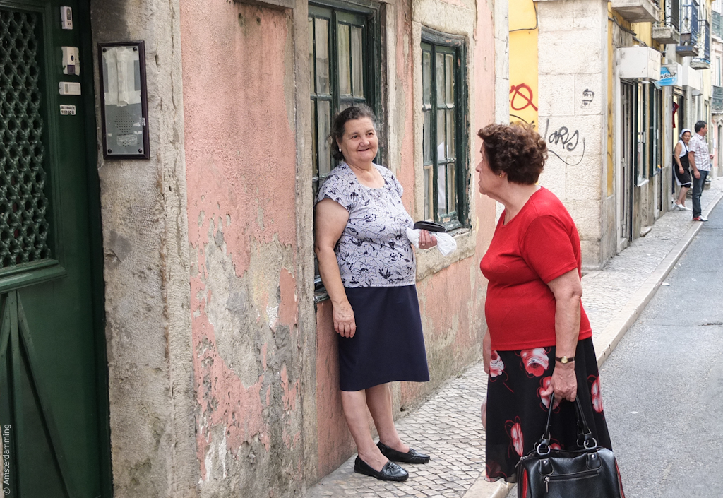 Lisbon, Women Chat on a Street in Alfama