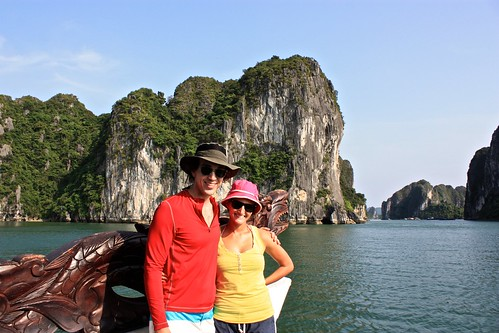 enjoying our dragon guide in Ha Long
