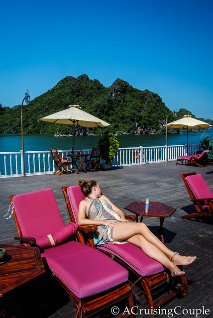 A Cruising Couple Relaxing in Halong Bay