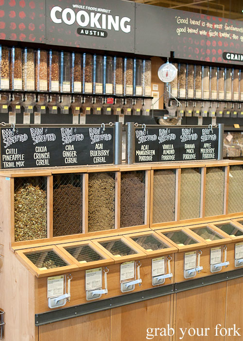 raw and sprouted bulk cereals at whole foods market flagship store supermarket groceries austin texas