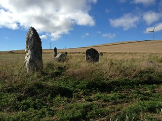 WHite quartz pillar at Balquhain Stone Circle