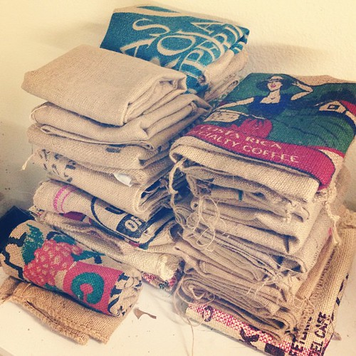 Sorted and folded burlap bags - some for me, some for sis, and a surprise for a friend.