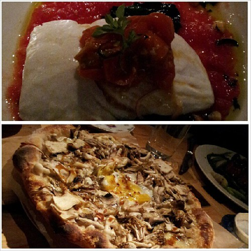 really fresh halibut dish + flavourful mushroom pizza w egg in middle! @abckitchen #Aveeno #AveenoAmbassador