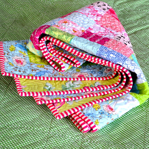 Blackberry Winter Blossom Quilt - binding
