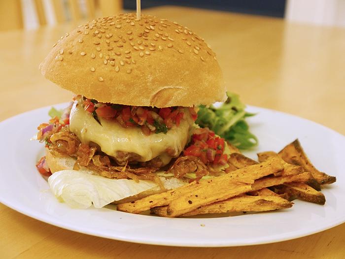 monterey jack cheese burger with sweet potato fries 2