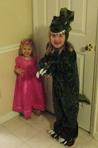 Lucy the princess and Catie the dinosaur
