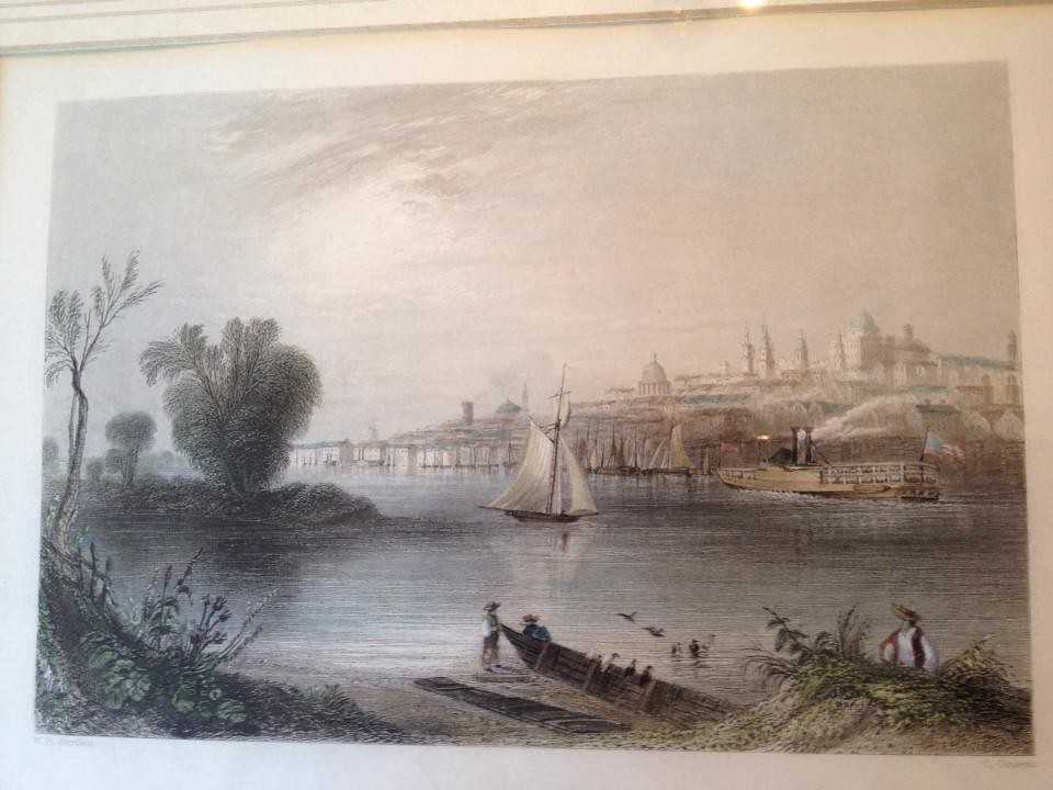 Albany NY  circa 1840---a print by William Henry Bartlett.