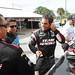 Juan Pablo Montoya talks with his Team Penske crew prior testing at Sebring
