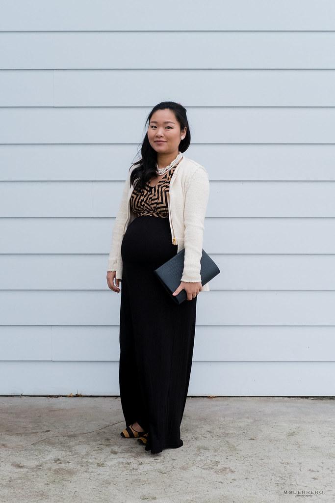 PinkBlush Maternity Mocha Chevron maxi, Zara cream peplum blazer