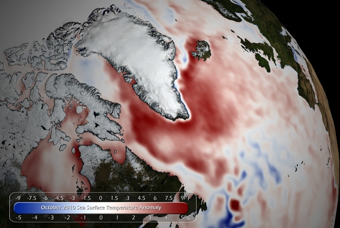 Image from National Oceanic and Atmospheric Administration's Environmental Visualization Laboratory depicts sea surface temperatures around Greenland from October 2010.