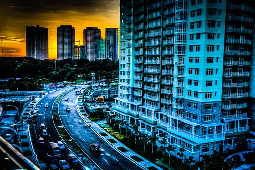 road sunset color tower yellow skyscraper buildings mall traffic curves manila hdr bonifacio 6d smaurapremier