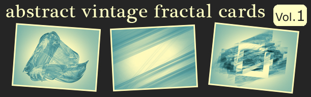 12 Abstract Fractal Vintage Cards