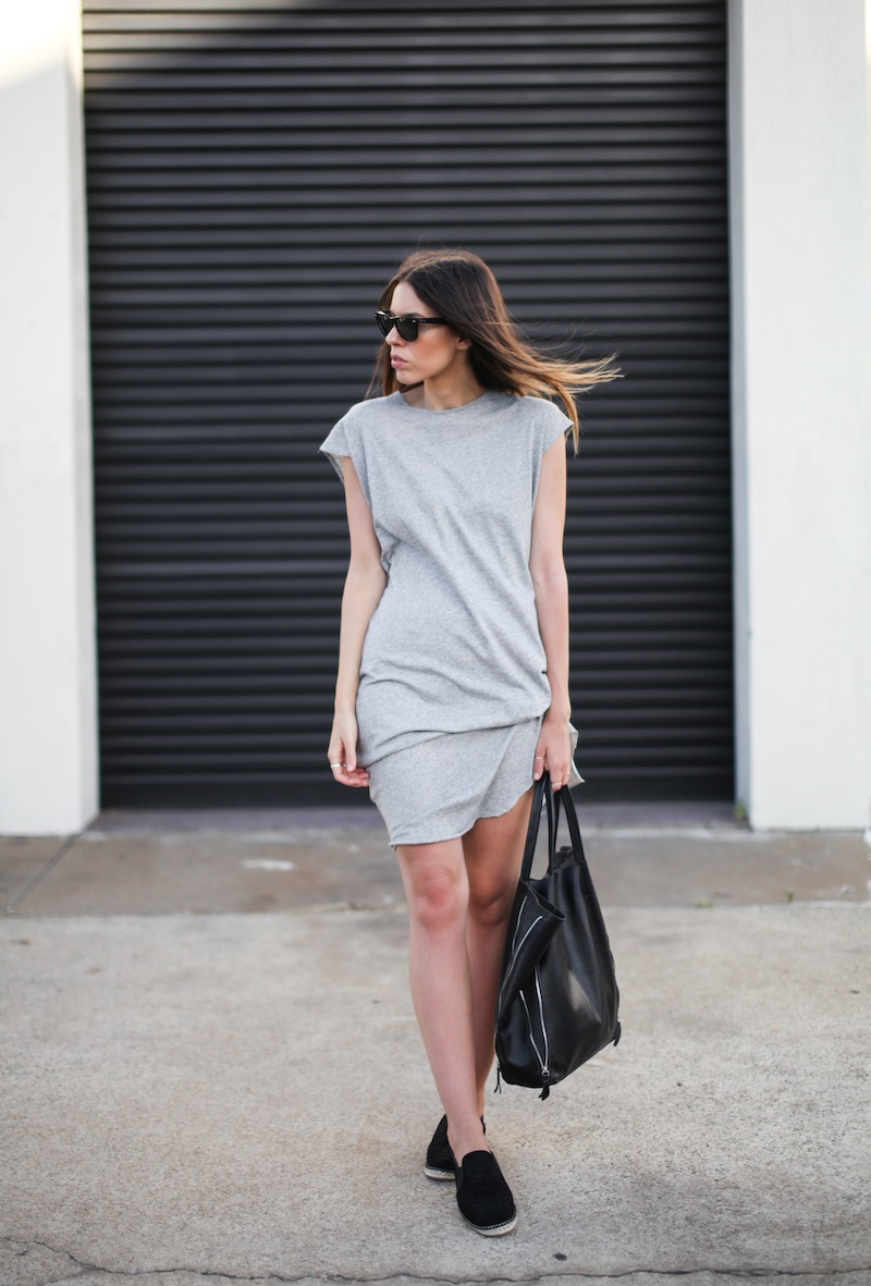 modern legacy fashion street style blog australia Bassike grey tank dress Tuchuzy leather zip tote espadrilles Celine Sandro (1 of 2)