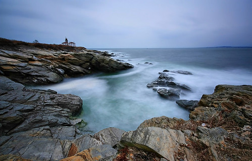 ocean park new england lighthouse seascape water landscape island rocks long exposure state cloudy cove atlantic beavertail rhode