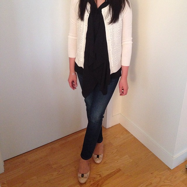 Lace cardigan from @bananarepublic paired with my @hm ruffle blouse.