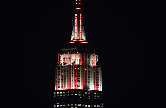 The Empire State Building is lit in Philadelphia Phillies colors in honor of the 2017 MLB season.