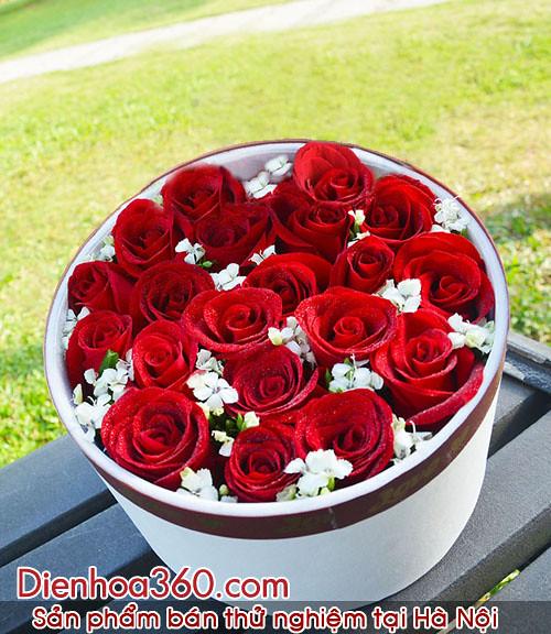 hoa ngay tinh nhan, hoa tang ngay valentine, hop hoa valentine