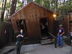 Leaning outside cabin