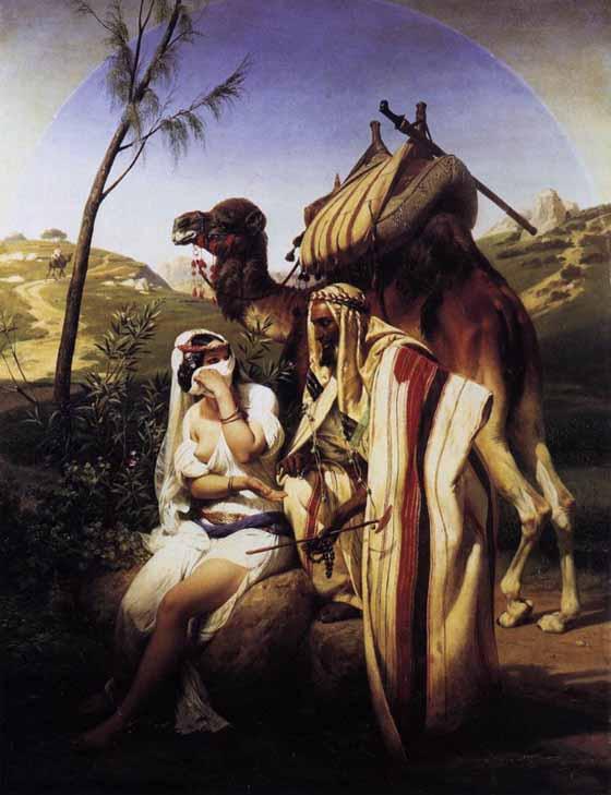 Escena galante en el desierto. Emile Vernet. Óleo sobre lienzo, 1840