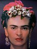 frida with felted flowers in her hair
