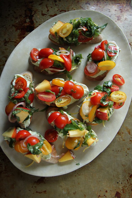 Peach Tomato Crostini with Lemon Basil Ricotta