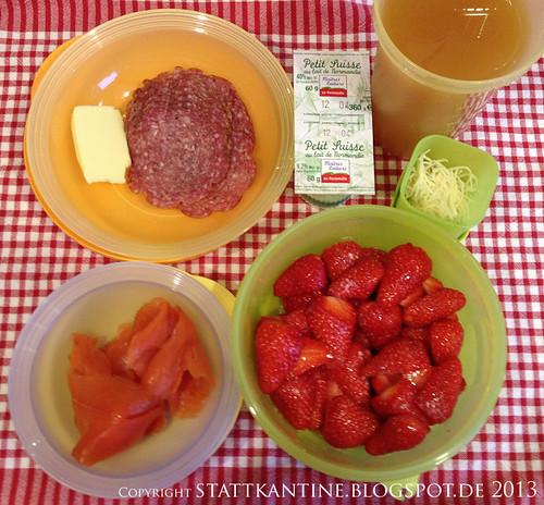 Stattkantine 28. März 2013 - Wildlachs, Bio-Lammsalami, Gariguettes-Erdbeeren