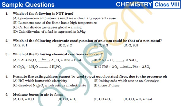 UCO 2013 Sample Papers for Class VIII - Chemistry