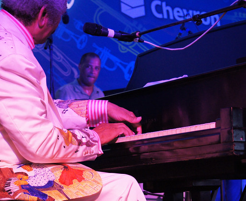 Allen Toussaint, on Aug 2, 2013, at Satchmo Fest. photo by Bill Sasser