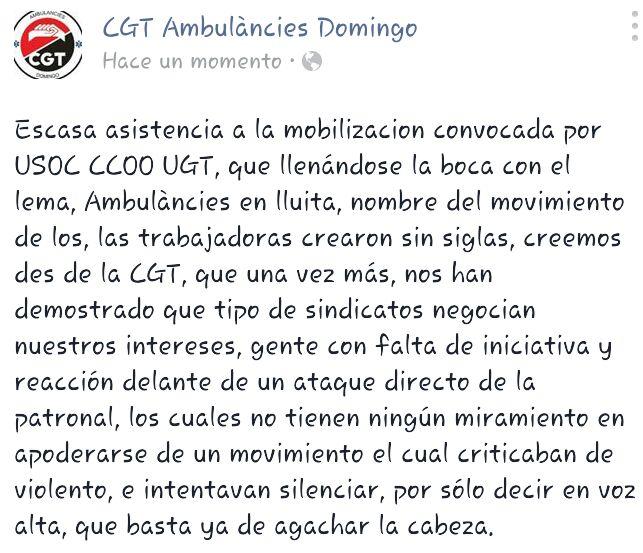 comunicat cgt domingo : CGT denuncia intent de patrimonialitzar-se mobilització Ambulàncies en lluita, amb manifestació convocada per USOC-CCOO-UGT