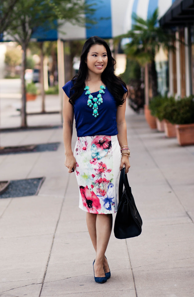 White Floral   Navy - cute & little | Dallas Petite Fashion Blogger