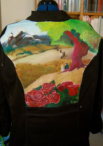 """Hero's Journey"" a jacket for Eileen Propp painted by Amy O'Hanlon"