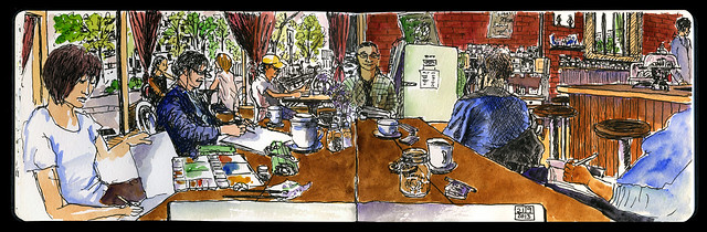 Urban Sketchers meet at Finch's Market in Strathcona, Vancouver