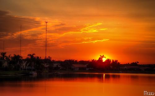 sunset orange sun lake reflection florida lantana hdr photomatix topazplugins