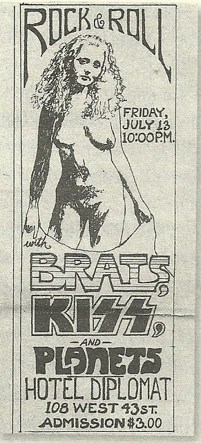 07/13/73 The Brats/ Kiss/ Planets @ Hotel Diplomat, NYC, NY (Paul Stanley Desinged Ad)