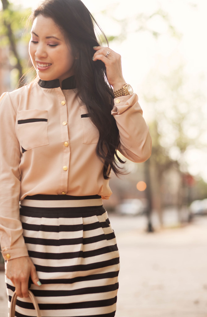cute & little blog | petite fashion | sammydress pink contrast collar chiffon shirt, striped skirt | spring outfit
