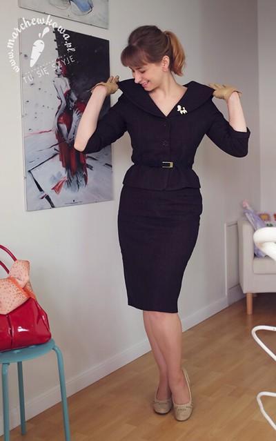 marchewkowa, blog, szycie, krawiectwo, sewing, moda, retro, vintage, fashion, 50s, ladies suit, kostium, żakiet z kołnierzem szalowym, spódnica ołówkowa, wełna, tweed, dopasowana talia, Burda 12/2005, 12/1012, wykrój