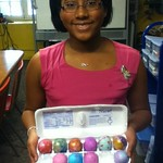 Tamia and her little sister, made beautiful  Easter eggs.