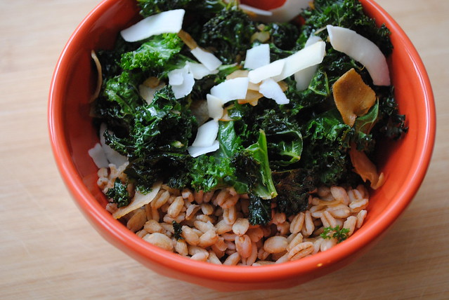 Warm Kale Salad with Farro & Toasted Coconut