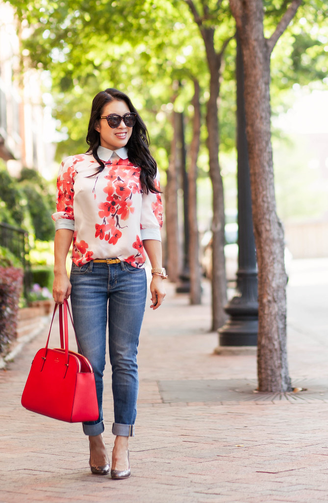 cute & little blog | petite fashion | cherry blossom mint floral top, cuffed jeans, kate spade red elissa bag | casual outfit