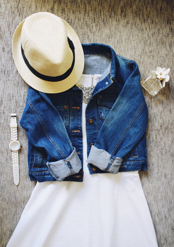 summer-outfit-inspiration-distressed-denim-jacket-white-dress-summer-straw-hat