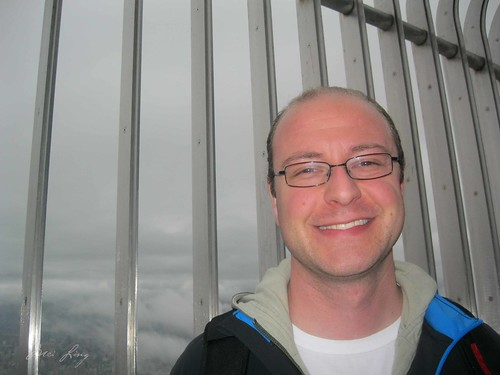 Dan on the outer observation deck at Taipei 101.