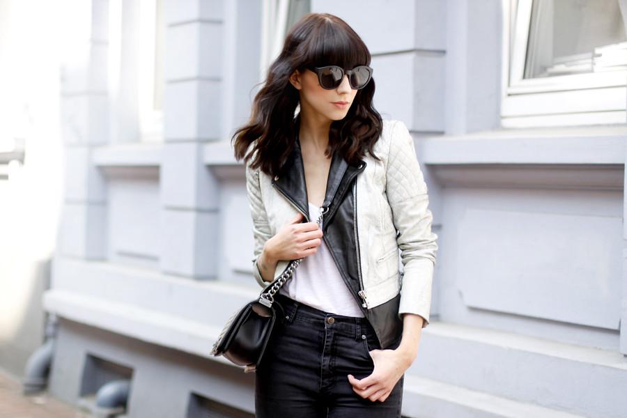 f3b0f7030a Muubaa cracked leather biker jacket Cheap Monday ripped jeans DIY Zara  heels Chanel Le Boy bag ASOS Celine sunglasses outfit CATS   DOGS Ricarda  Schernus ...