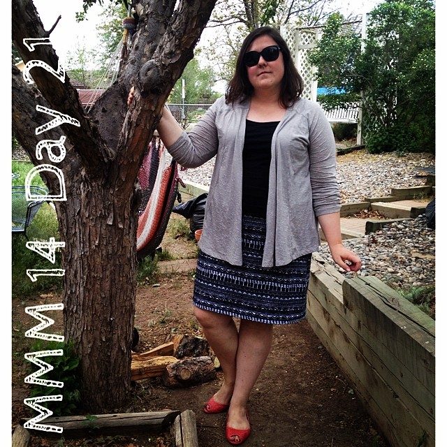 #mmm14 #memademay day 21! I whipped up this self drafted knit skirt last night, all else rtw.